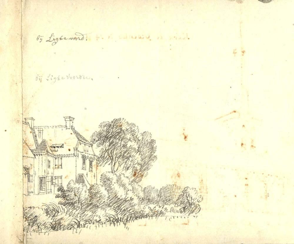Huis Lichtenvoorde in Lichtenvoorde. Tekening Jan de Beijer, 1743